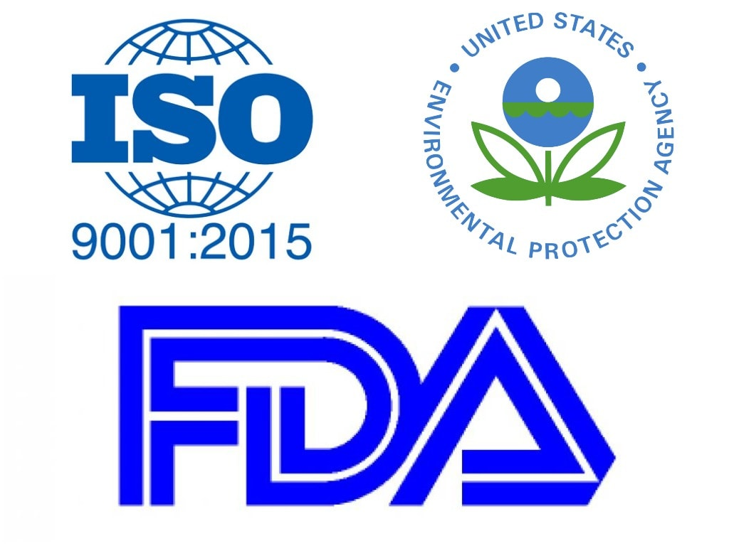 ISO 9001:2015, EPA and FDA - important chemical manufacturing certifications
